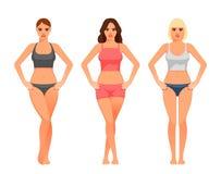 Jonge vrouw met gezonde slanke lichaamsillustratie stock illustratie