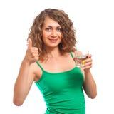 Jonge vrouw met glas water stock afbeeldingen