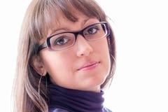 Jonge vrouw met glazen Stock Fotografie