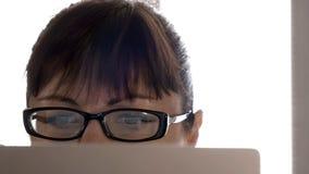 Jonge vrouw met glazen die aan laptop, door het venster in de middag werken stock foto