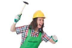Jonge vrouw met hamer Stock Fotografie