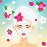 Jonge vrouw met handdoek en kosmetisch gezichtsmasker onder bloemen KUUROORD, toevlucht, het concepten vectorillustratie van de s royalty-vrije illustratie
