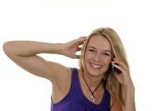 Jonge vrouw met handig Royalty-vrije Stock Afbeelding