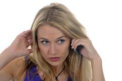 Jonge vrouw met handig Royalty-vrije Stock Foto