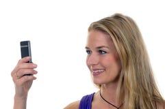 Jonge vrouw met handig Stock Foto's