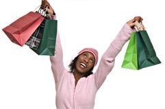 Jonge vrouw met het winkelen zakken Stock Afbeeldingen