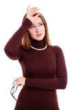 Jonge vrouw met hoofdpijn royalty-vrije stock afbeelding