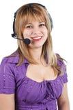 Jonge vrouw met hoofdtelefoon Stock Foto's