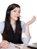 Jonge vrouw met hoofdtelefoon stock afbeeldingen