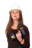 Jonge vrouw met hulpmiddel Royalty-vrije Stock Foto
