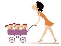 Jonge vrouw met kinderen in de wandelwagenillustratie stock illustratie