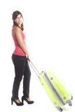 Jonge vrouw met koffer Royalty-vrije Stock Afbeeldingen