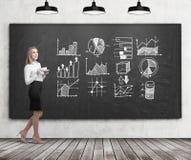 Jonge vrouw met koffie en grafieken op bord Stock Afbeeldingen