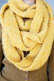 Jonge vrouw met lange oranje die sjaal rond haar hals wordt verpakt Royalty-vrije Stock Afbeelding