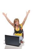 Jonge vrouw met laptop Stock Foto