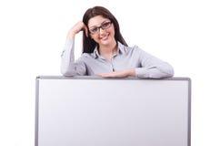 Jonge vrouw met lege raad Stock Fotografie