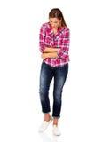 Jonge vrouw met maagpijn stock foto's