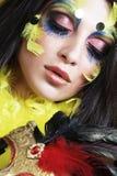 Jonge vrouw met masker Stock Foto