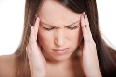 Jonge vrouw met migraine Stock Afbeeldingen