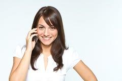 Jonge vrouw met mobilofoon Royalty-vrije Stock Afbeelding