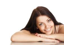Jonge vrouw met mooie glimlach stock foto's