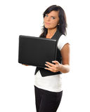 Jonge vrouw met notitieboekje Stock Afbeelding