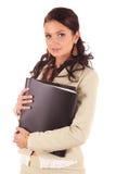 Jonge vrouw met omslagen van documenten voor contract Royalty-vrije Stock Foto