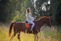 Jonge vrouw met paard Royalty-vrije Stock Afbeelding