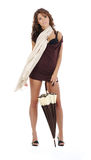 Jonge vrouw met paraplu. Royalty-vrije Stock Foto's