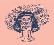 Jonge vrouw met planeten De dubbele astronoom en de sterren van het blootstellings Toekomstige meisje in ruimte Science fictionco stock illustratie