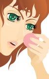 Jonge vrouw met poederdonsje. Stock Foto