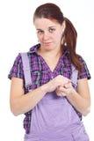 Jonge vrouw met poneystaart Stock Foto