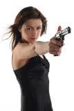 Jonge vrouw met revolver Stock Foto