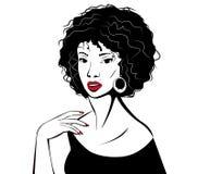 Jonge vrouw met rode lippen Royalty-vrije Stock Afbeeldingen