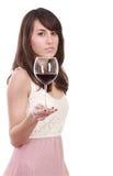 Jonge vrouw met rood wijnglas Stock Foto