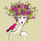 Jonge vrouw met roze vogel Stock Afbeeldingen