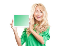 Jonge vrouw met tabletcomputer. Royalty-vrije Stock Afbeelding