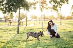 Jonge vrouw met therhond Royalty-vrije Stock Foto