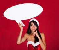 Jonge Vrouw met Toespraakbel Stock Fotografie