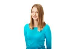 Jonge vrouw met toothy glimlach stock afbeelding