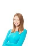Jonge vrouw met toothy glimlach stock foto's