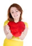 Jonge vrouw met valentijnskaart Stock Afbeeldingen
