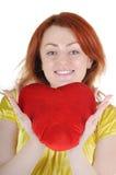 Jonge vrouw met valentijnskaart Royalty-vrije Stock Fotografie