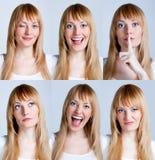 Jonge vrouw met veelvoudig gezicht stock afbeelding