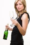 Jonge Vrouw met Wijn Royalty-vrije Stock Afbeeldingen