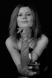 Jonge vrouw met wijnglas Royalty-vrije Stock Foto