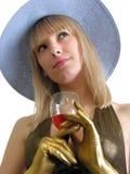 Jonge vrouw met wijnglas Stock Foto