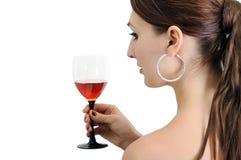 Jonge vrouw met wijnglas Stock Foto's