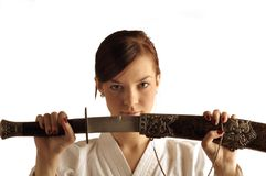 Jonge vrouw met zwaard stock foto's