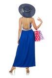 Jonge vrouw na geïsoleerd winkelen Royalty-vrije Stock Fotografie